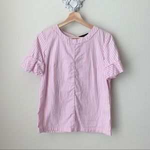Banana Republic pink and white striped blouse